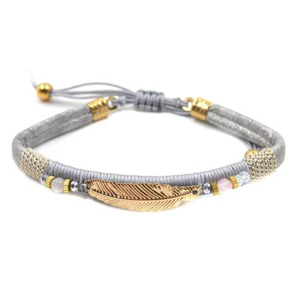 Bracelet plume gris