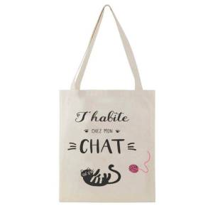 Sac Tote Bag Chat message j'habite chez mon chat