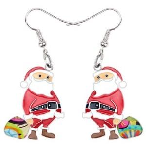 Boucles d'oreilles Père Noël émail