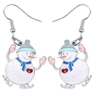 Boucles d'oreilles bonhomme de neige bleu émail