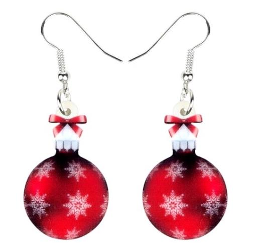 Boucles d'oreilles boule de sapin Noël