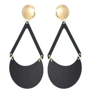 Boucles d'oreilles demi cercle noir mat