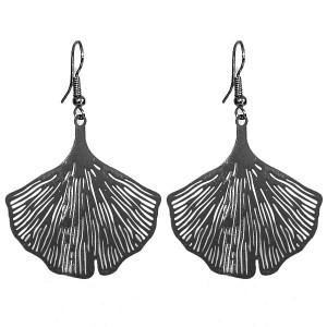 Boucles d'oreilles feuille de lotus noir