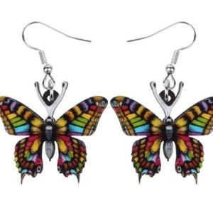 Boucles d'oreilles papillon couleurs vives