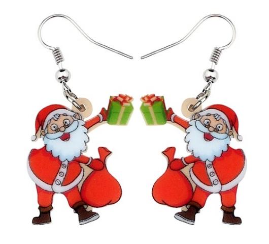 Boucles d'oreilles Père Noel hotte cadeau