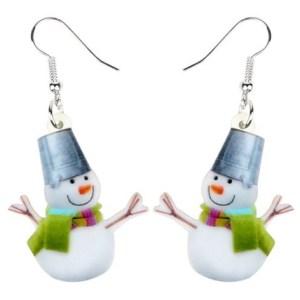 Boucles d'oreilles bonhomme de neige seau