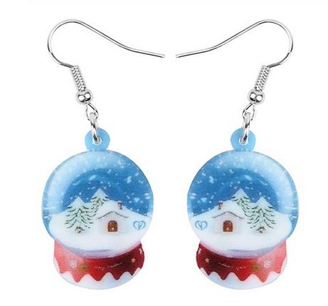 Boucles d'oreilles boule à neige bleu