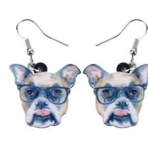 Boucles d'oreilles bouledogue lunettes
