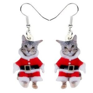 Boucles d'oreilles chaton Noel