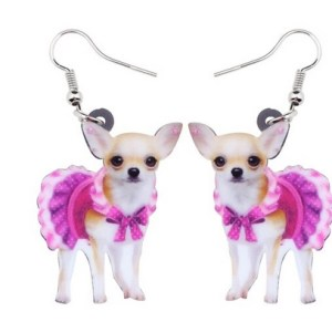 Boucles d'oreilles chihuahua robe rose
