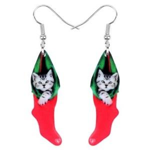 Boucles d'oreilles chaussette de Noel chaton