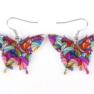 Boucles d'oreilles papillon vitrail