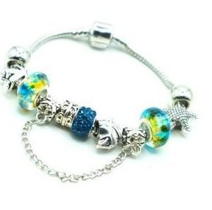 Bracelet charms perles bleu jaune