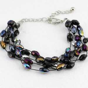 Bracelet multirangs cristal multicolore