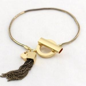 Bracelet pompon chaine marron