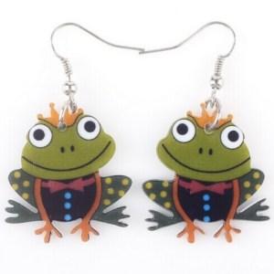 Boucles d'oreilles grenouille prince charmant