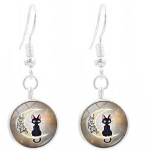 Boucles d'oreilles médaillon chat lune