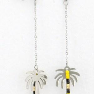 Boucles d'oreilles pendantes palmier jaune