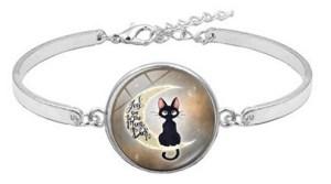 Bracelet médaillon chat lune