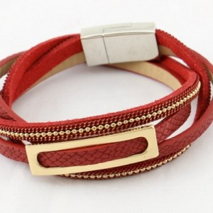 Bracelet multi tours rouge