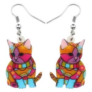 Boucles d'oreilles chaton abstrait peinture