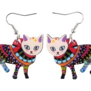 Boucles d'oreilles chat motifs colorés