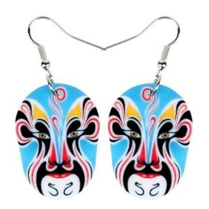 Boucles d'oreilles masque bleu opéra de pékin