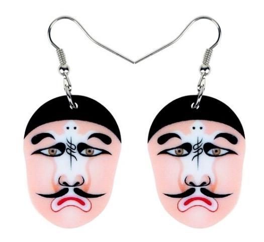 Boucles d'oreilles masque opéra de pékin