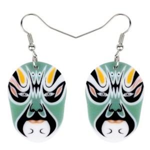 Boucles d'oreilles masque vert opéra de pékin