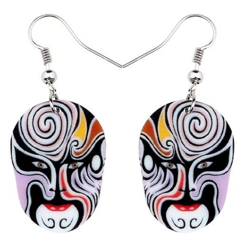 Boucles d'oreilles masque violet opéra de pékin