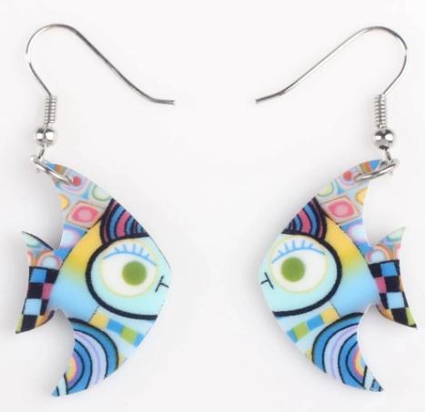Boucles d'oreilles poisson yeux verts