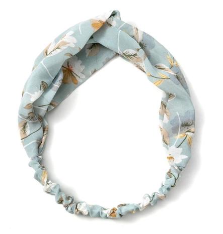 headband bleu clair à fleurs