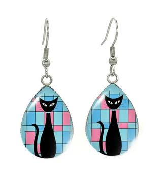 Boucles d'oreilles goutte bleu rose chat