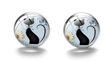 Boucles d'oreilles médaillon silhouette chat