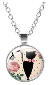 Collier médaillon rose chat