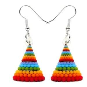 Boucles d'oreilles sapin boules multicolores