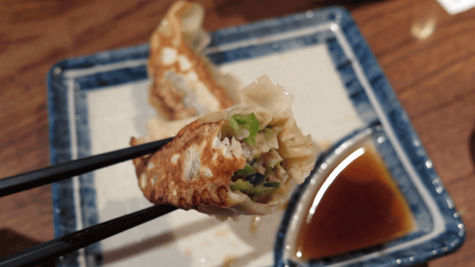 Gyoza dumplings served at a restaurant in Japan