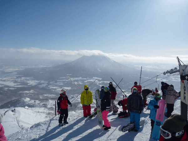 View of Mount Yotei from Grand Hirafu at Niseko resort, Hokkaido, Japan