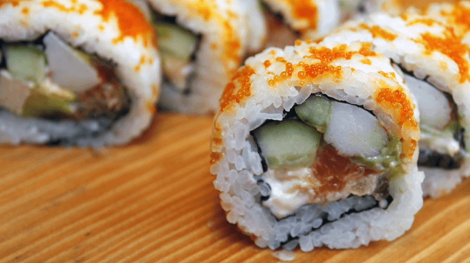 Salmon, cucumber and salmon roe sushi served in Tokyo, Japan