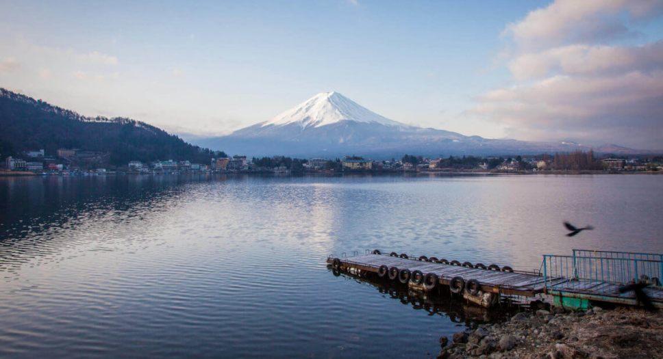 Summer view of Mount Fuji from Lake Kawaguchiko, Fuji Five Lakes, Japan