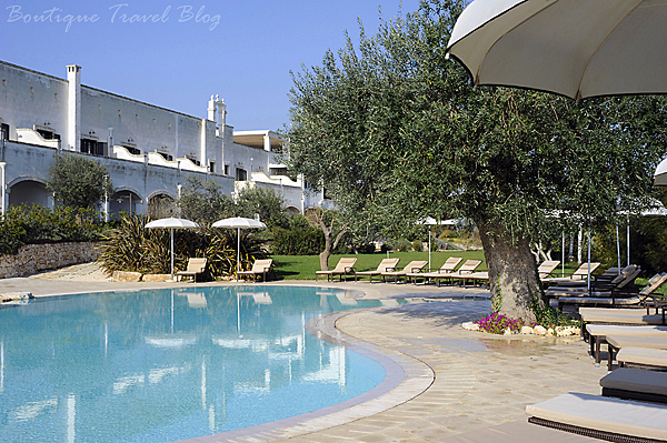 Borgobianco Resort & Spa swimmin pool and terrace, edged with a circle of sunbeds and a ancient olive tree