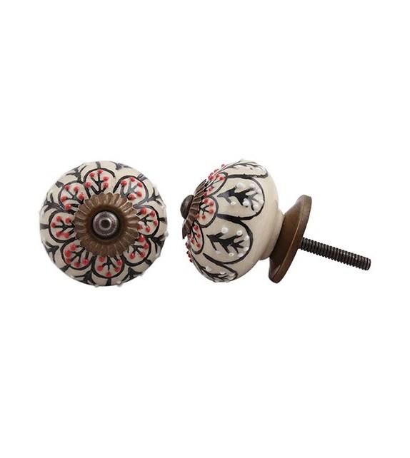 bouton de meuble en porcelaine et