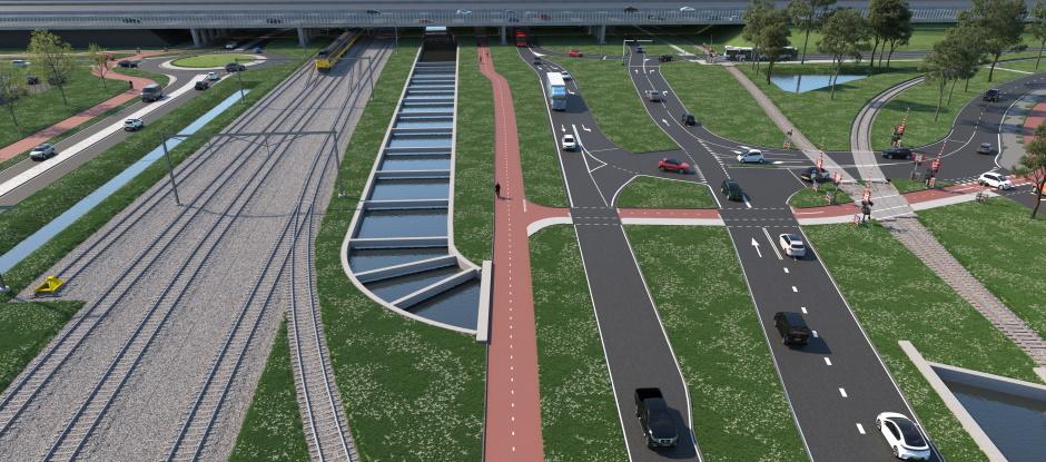 Tussenwand spoorwegonderdoorgang van circulair beton