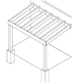 bouwtekening van een overkapping
