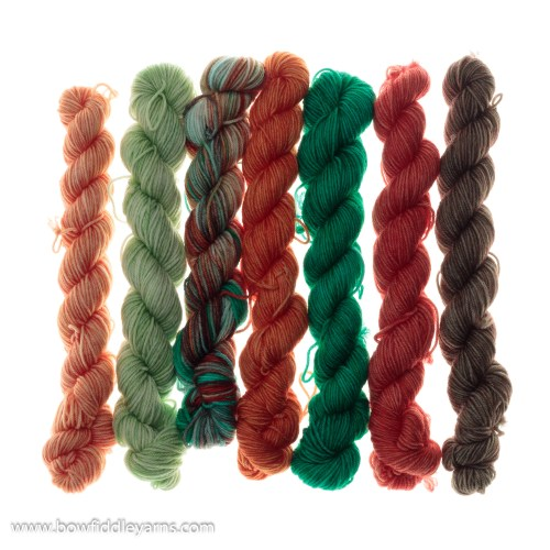 Group of orange and green skeins