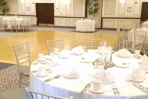 ballroom configured for wedding reception