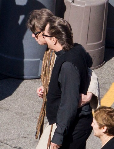 EXCLUSIVE: Rock star David Bowie filmed his latest music video 'The Next Day' in Los Angeles yesterday (Monday). The video was shot at the American Legion building and also guested starred Actor Gary Oldman. Bowie was dressed in a long robe with many of the extras wearing similar religious themed clothes. Pictured: Gary Oldman and David Bowie Ref: SPL521135 230413 EXCLUSIVE Picture by: Splash News Splash News and Pictures Los Angeles: 310-821-2666 New York: 212-619-2666 London: 870-934-2666 photodesk@splashnews.com