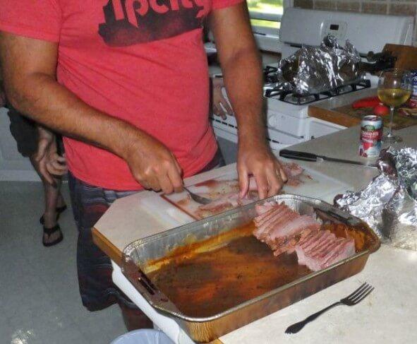Slicing the brisket.