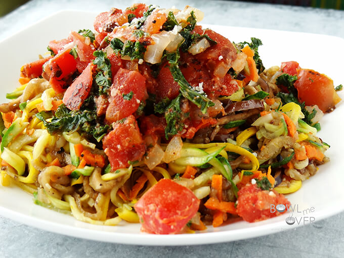 Rainbow Zoodles with Tomatoes