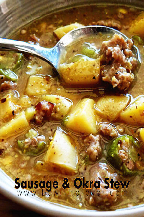 Bowl of Okra Stew with spoon